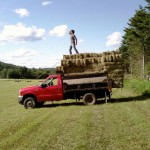Collecting hay bails in central New Hampshire, July 2009