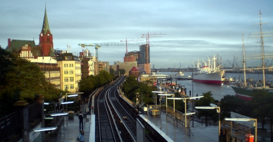 View of waterfront from hostel, Hamburg
