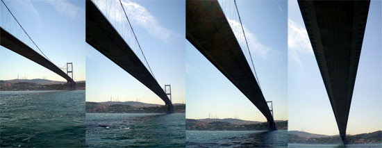 Crossing under the Fatih Sultan Mehmet Bridge