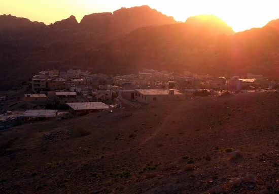 Sunset over small village outside Petra